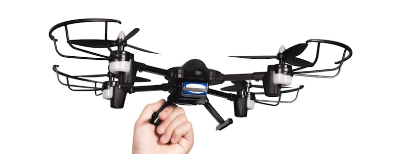 black drone held in hand unable to fly