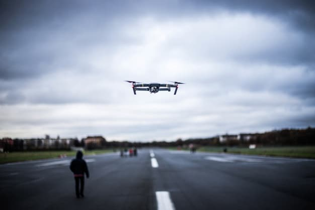 drone flies in middle of open road