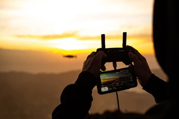 drone remote connected to phone while being operated