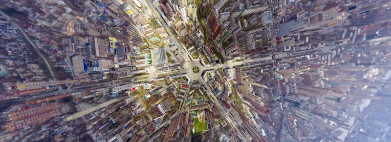 drone shot above the flying limit in a city