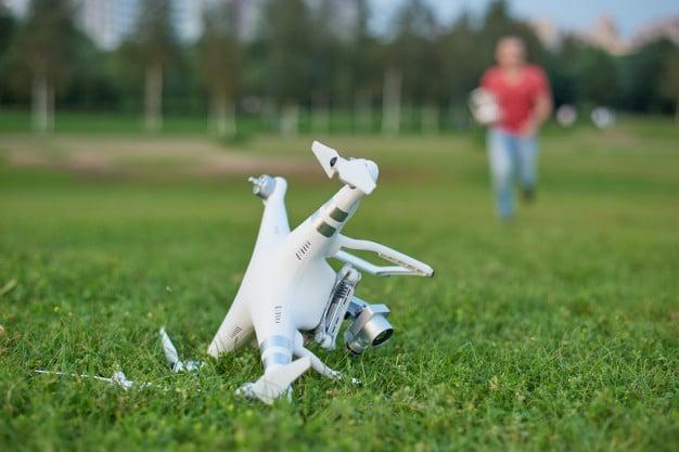fallen drone in the grass