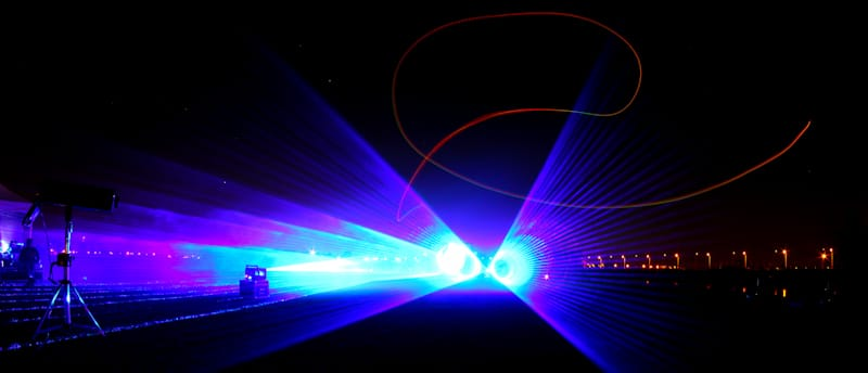laser show in concert at night