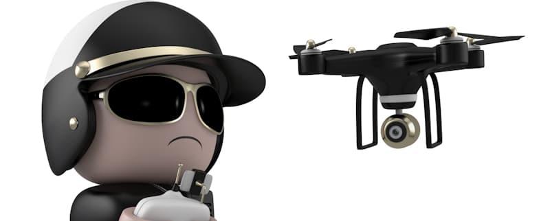 lego police man flying drone