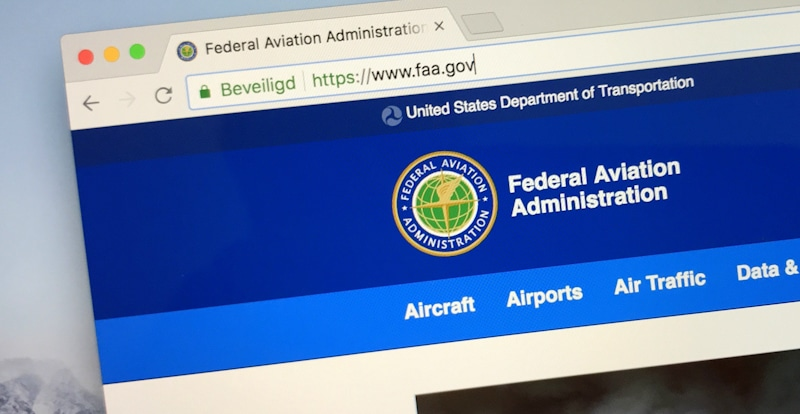 Federal aviation administration screen shot of their site