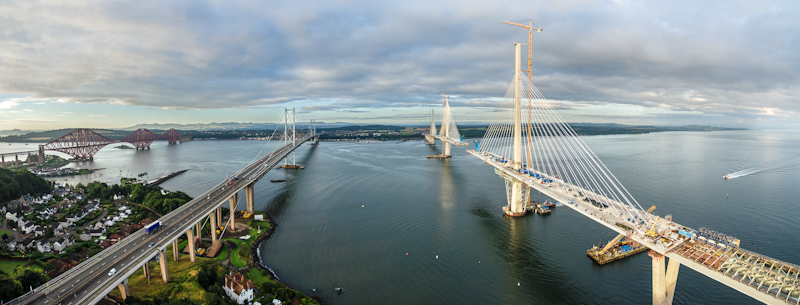 aerial shot of three bridges taken with drone