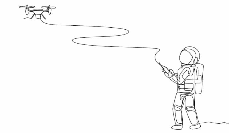 astronaut flies drone doodle