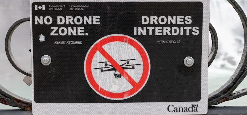 canadian no drone zone sign