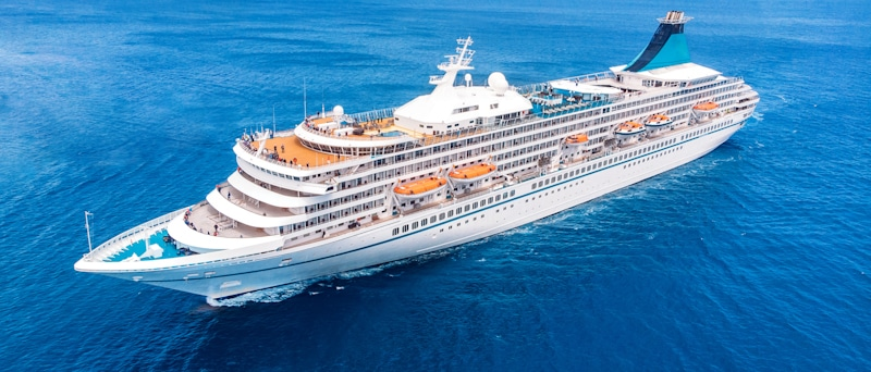cruiseship shot from aerial drone