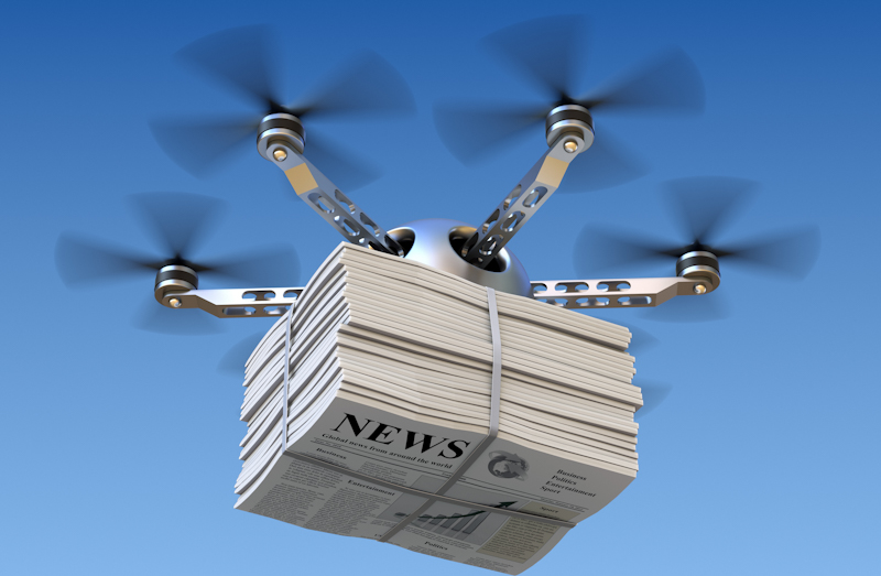 drone delivering news papers