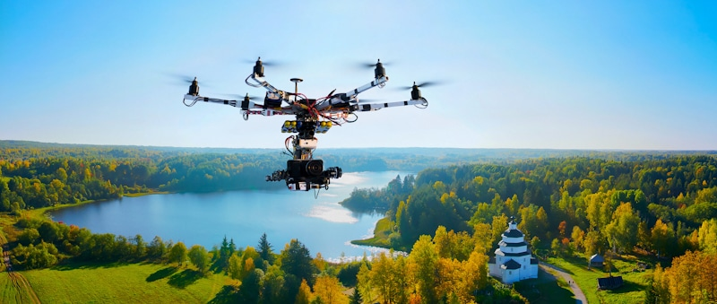 drone flies over state park