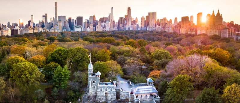 drone flying in central park