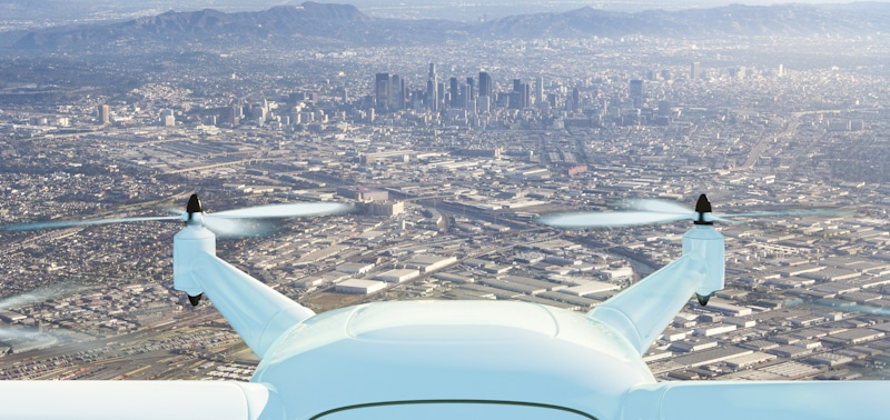 drone flying towards city center LA