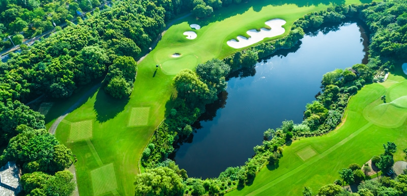 drone shot of a golf course