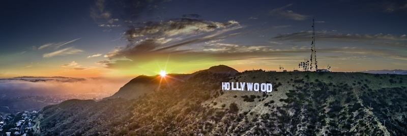 drone shot of the Hollywood sign at sunset