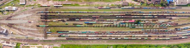 drone shot of train docking station