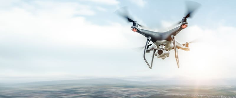 drone with propellers flies at high speed