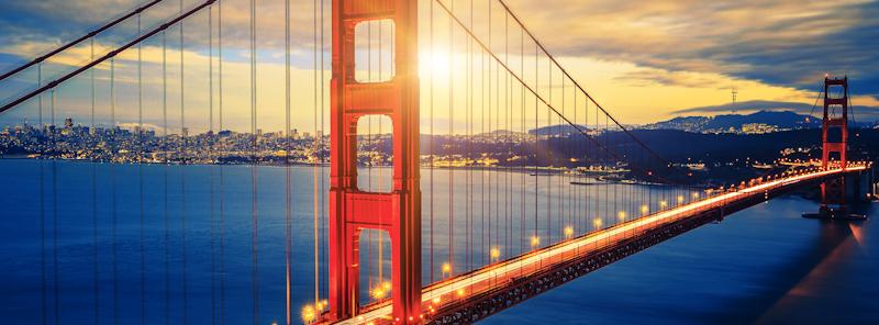 golden gate bridge shot from drone twilight