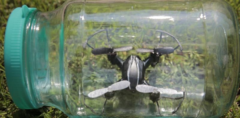 mini drone trapped in a cristal jar