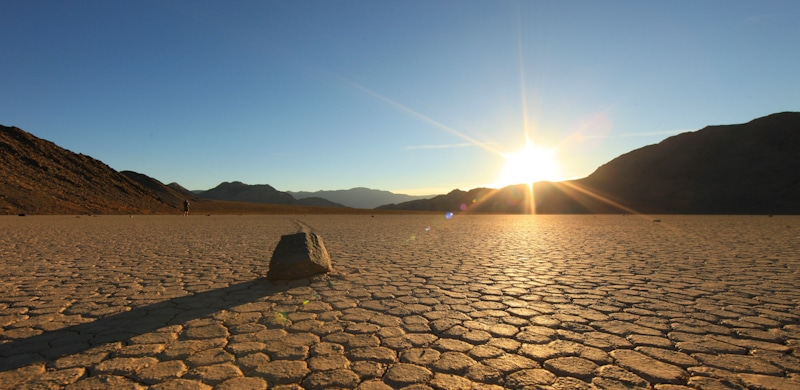 sand formation in death valley in sunset