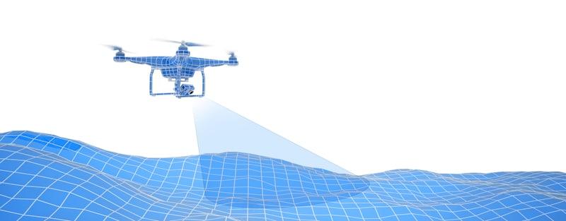 vector art drone scouting terrain