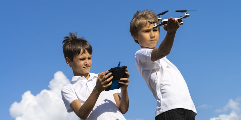 Children play with drone