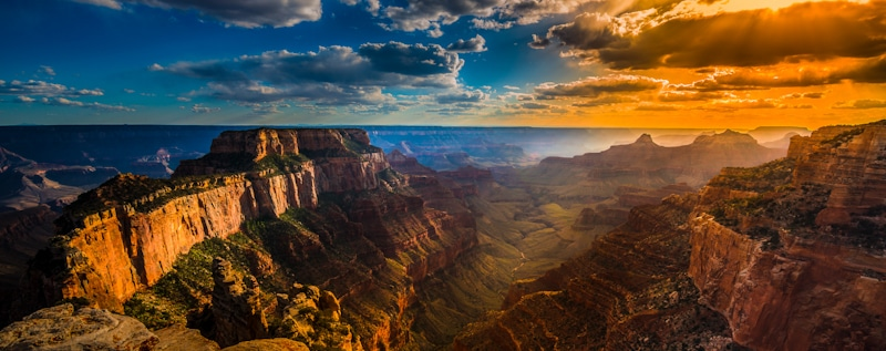 aerial picture of the Grand Canyon and sky
