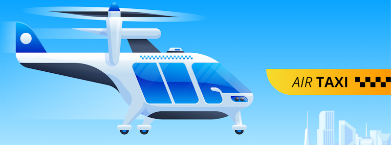 air taxi service of the future with helicopter drone