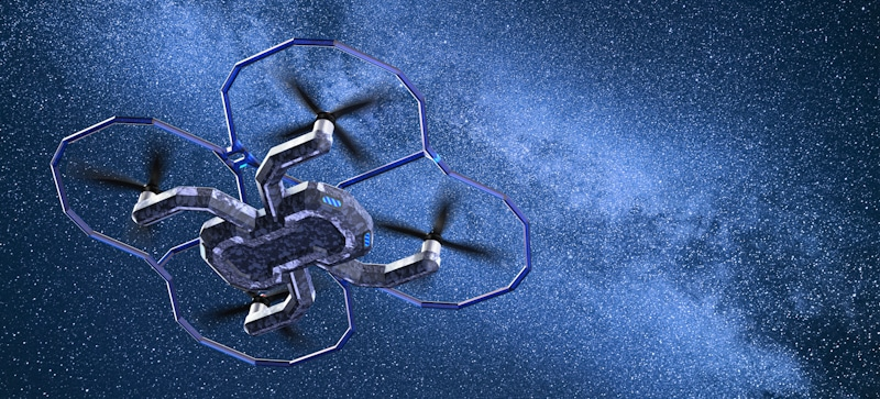drone flies in night starfilled sky