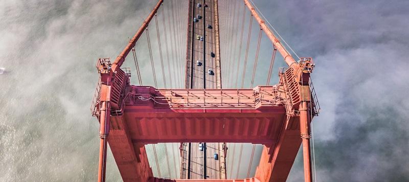 drone flies over Golden Gate bridge