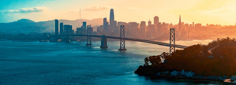 drone shot of Bay Bridge San Francisco