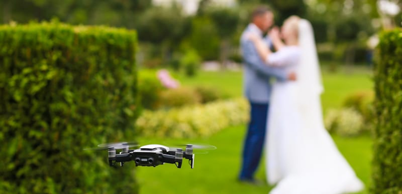 drone takes wedding pictures