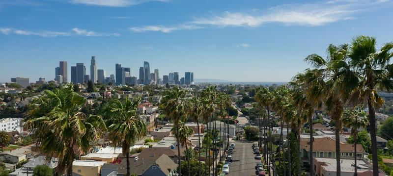 echo park california drone picture with view of LA