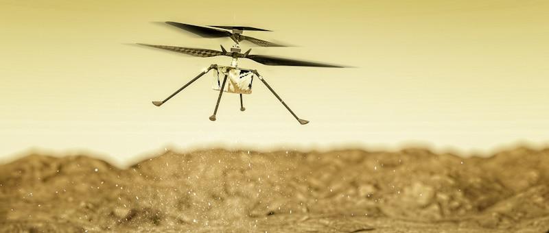 triple helix drone flies in outer space desert