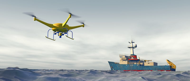 drone flies close to fishing boat in the middle of the ocean vector