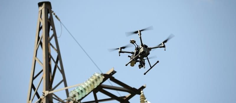 power line drone crash