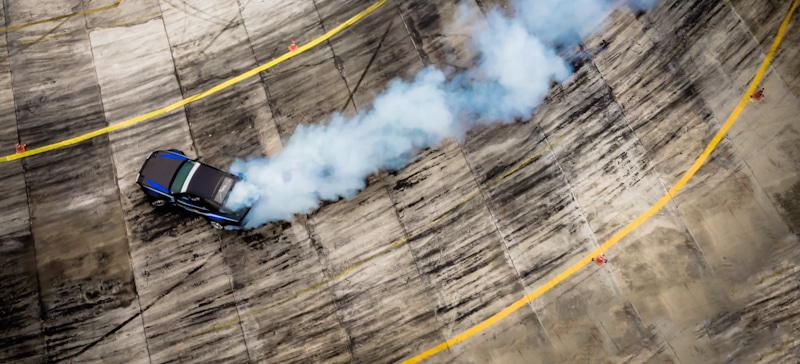 drone captures car as it drifts