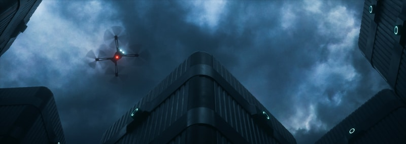 drone flights at night lights on