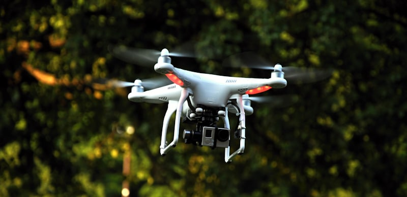drone with gopro hovers