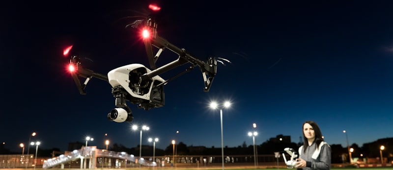 glow in the dark quadcopter red lights