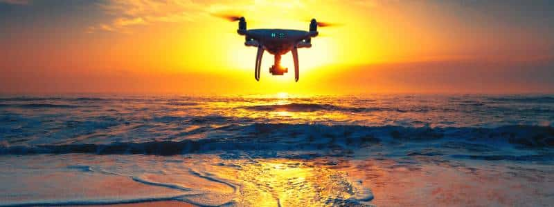 droneoverwatersunset