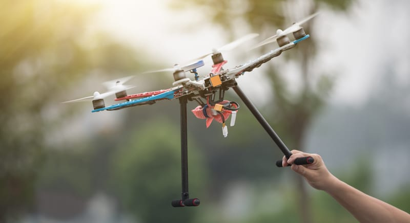 handmade drone takes off