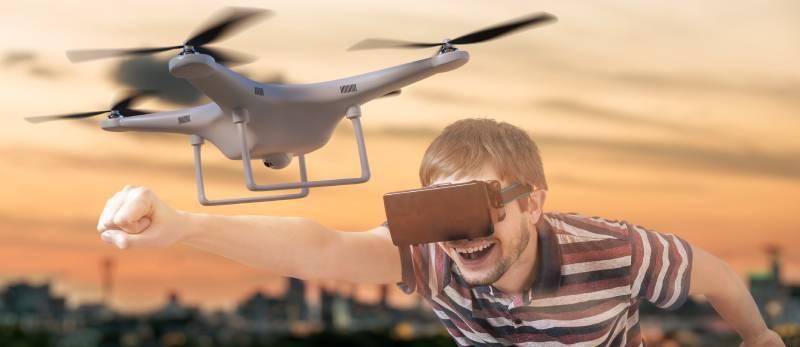 manrunningnexttodrone