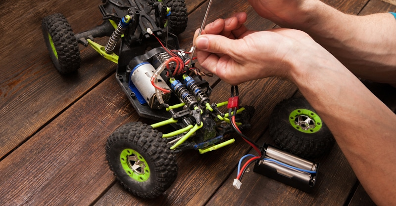 rc vehicle being repaired