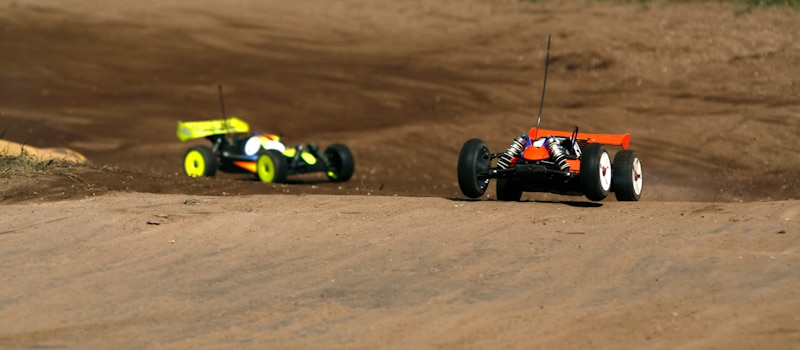 two rc cars race
