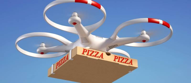 whitedronereddetailsdeliveringpizza