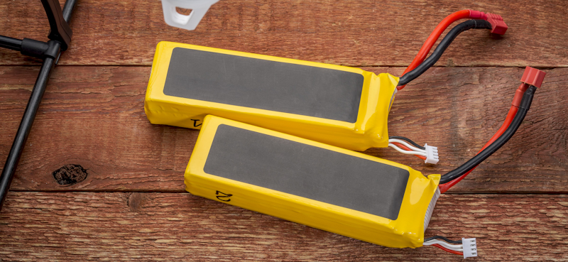 drone lipo batteries in yellow cover