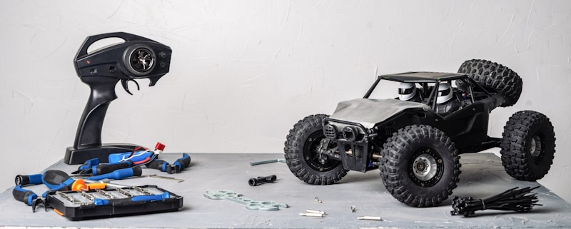 rc car with remote and engine repair kit